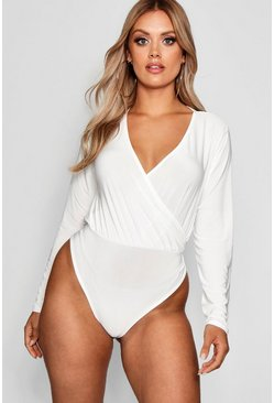 Ivory white Plus Slinky Wrap Over Bodysuit