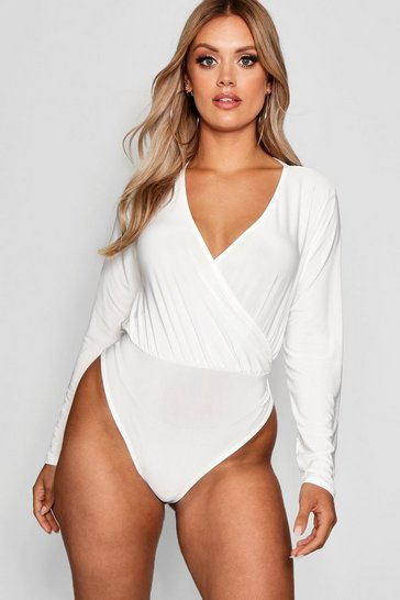 Ivory white White Plus Slinky Wrap Over Bodysuit