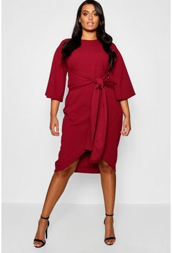 Berry Plus Kimono Sleeve Wrap Over Midi Dress
