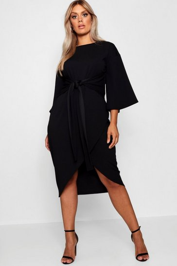 Black Plus Kimono Sleeve Wrap Over Midi Dress