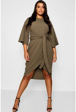 Khaki Plus Kimono Sleeve Wrap Over Midi Dress