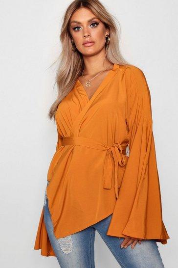 Amber orange Orange Plus Wide Sleeve Wrap Tie Blouse