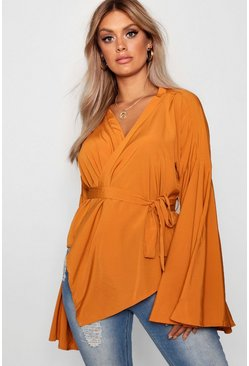 Amber orange Plus Wide Sleeve Wrap Tie Blouse