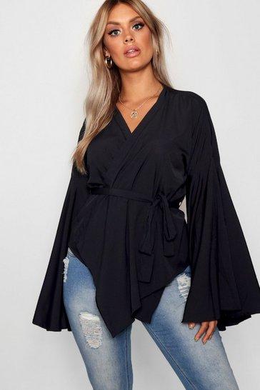 Black Plus Wide Sleeve Wrap Tie Blouse