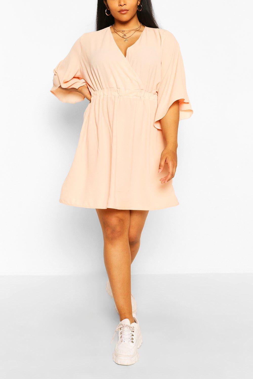Plus Kimono Sleeve Woven Skater Dress 22