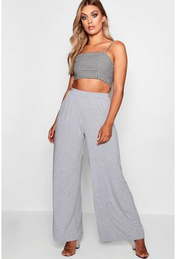 Grey Plus Jersey Wide Leg Trouser
