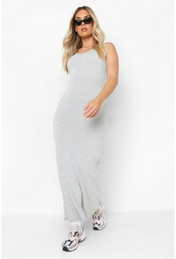 Grey Plus Scoop Neck Maxi Dress