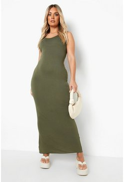 Khaki Plus Scoop Neck Maxi Dress