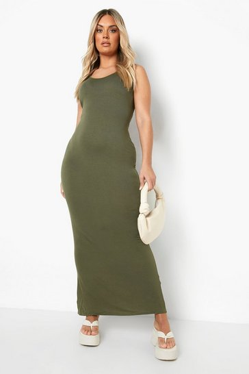 Khaki Plus Scoop Neck Maxi Dress