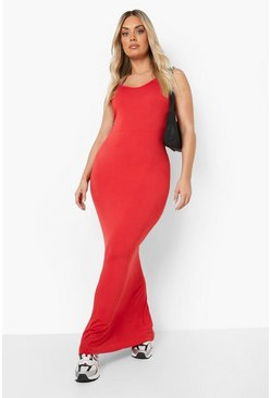 Plus Scoop Neck Maxi Dress, Red