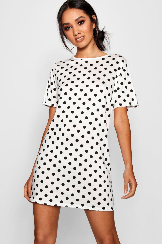 Petite Large Polka Dot T-Shirt Dress   boohoo