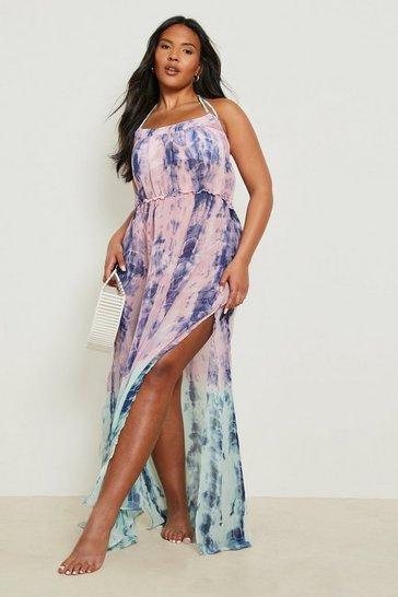 Pink Plus Katy Tie Dye Dip Dye Maxi Dress