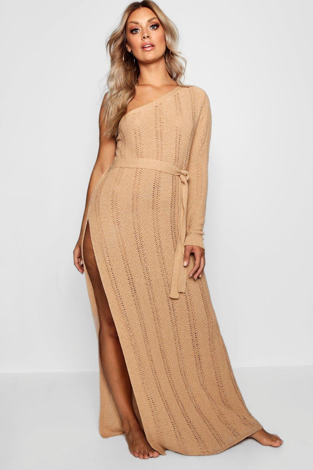 Plus One Shoulder Crochet Beach Dress 7