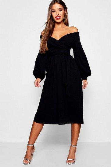 Black Petite Bardot Wrap Culotte Jumpsuit