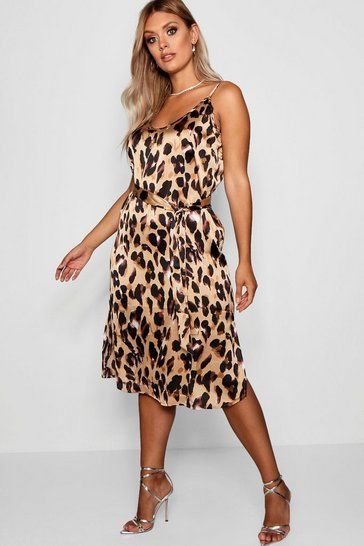 Brown Plus Libby Leopard Print Strappy Midi Dress