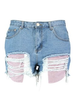 Mid blue Plus Daisy Exposed Stripe Pocket Denim Shorts