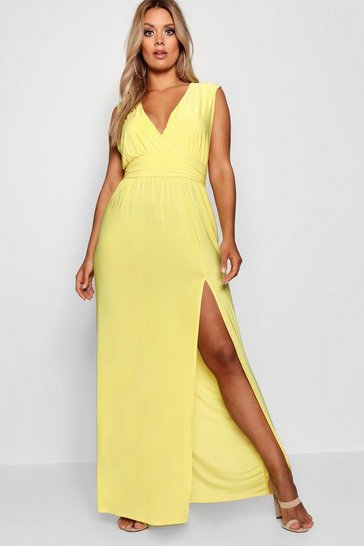 Yellow Plus Plunge Slinky High Split Maxi Dress