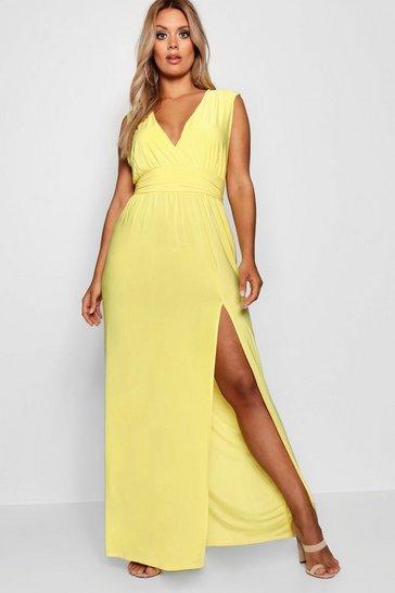 Yellow Plus Plunge Slinky High Split Maxi Dress