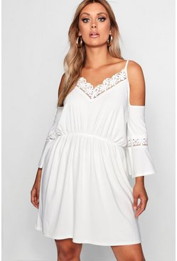 Ivory white Plus Open Shoulder Crochet Dress
