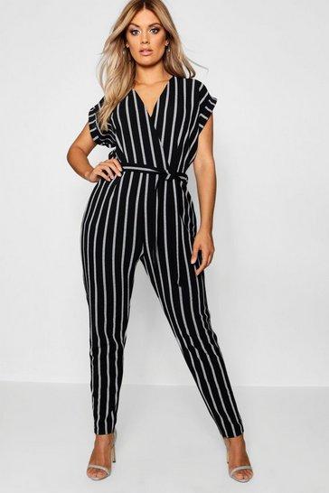 Black Plus Pinstripe Tailored Jumpsuit