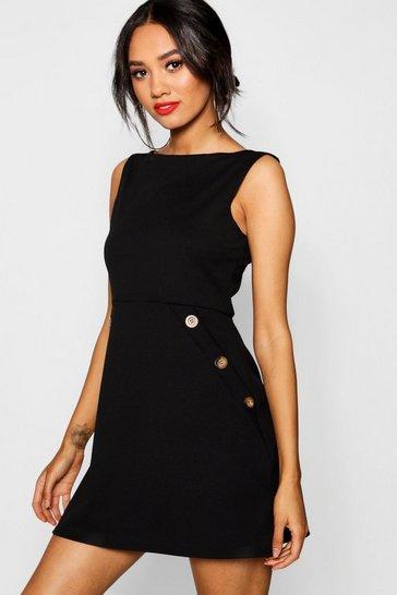 Black Petite Slash Neck Mock Horn Button Shift Dress