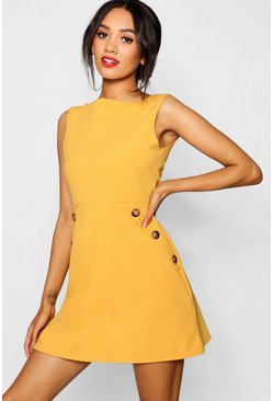 Mustard yellow Petite Slash Neck Mock Horn Button Shift Dress