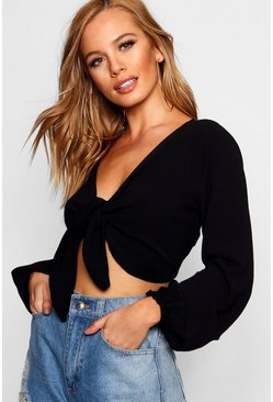 Black Petite Tie Front Crop Top