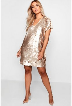 Gold metallic Plus Sequin Disk Shift Dress