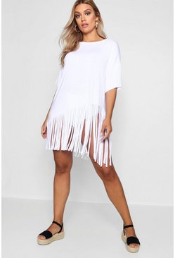 Plus Tassel Beach Dress, White bianco