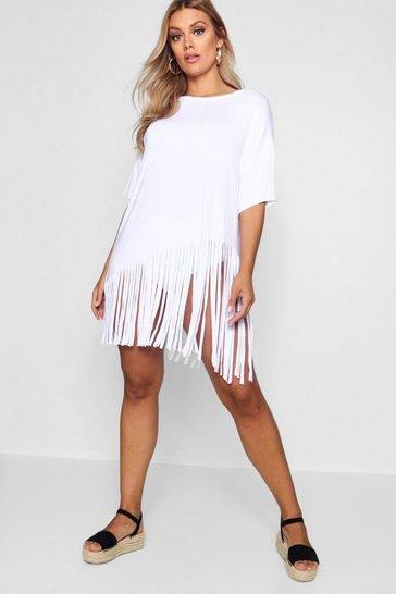 White Plus Tassel Beach Dress