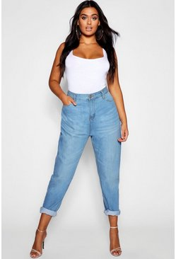 Mid blue Plus Fabienne High Rise Mom Jeans
