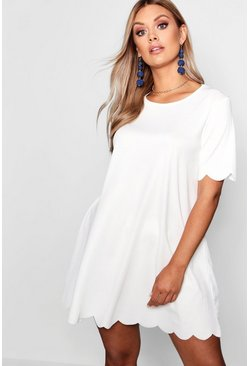Ivory white Plus Scallop Edge Shift Dress
