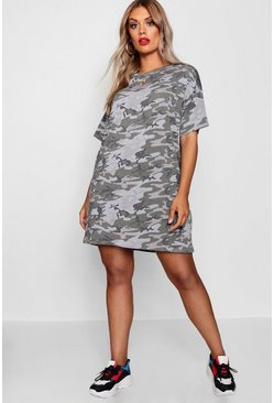 Plus Camo Print T Shirt Dress, Khaki