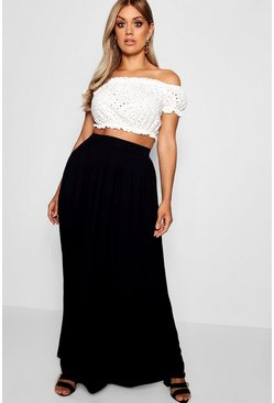 Black Plus Floor Sweeping Jersey Maxi Skirt