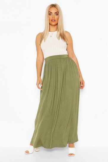 Khaki Plus Floor Sweeping Jersey Maxi Skirt