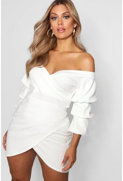 Ivory Plus Off The Shoulder Wrap Bodycon Dress