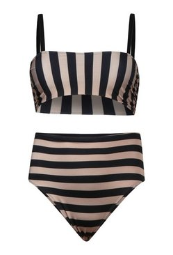 Black Plus Tonal Stripe Bow High Waist Bikini Set