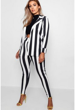 Black Plus Striped Suit Co-Ord