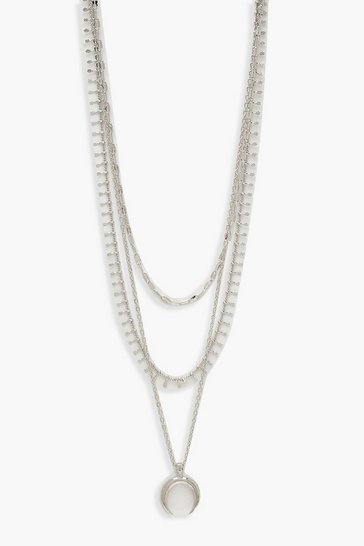 Silver Plus Moon Layered Choker Necklace