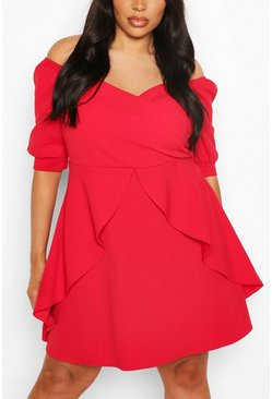 Red Plus Ruffle Detail Wrap Skater Dress