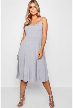 Grey Plus Jersey Basic Midi Skater Dress