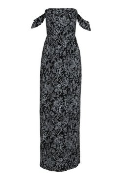 Black Petite  Paisley Print Bardot Wrap Maxi Dress