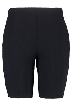 Black Plus Daisy Rib Cycling Short