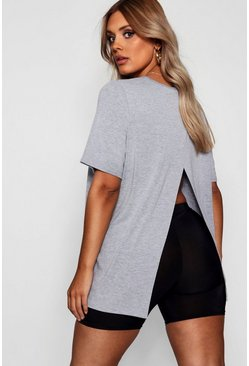 Light grey grey Plus Jersey Split Open Back T-Shirt