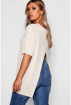 Stone beige Plus Jersey Split Open Back T-Shirt