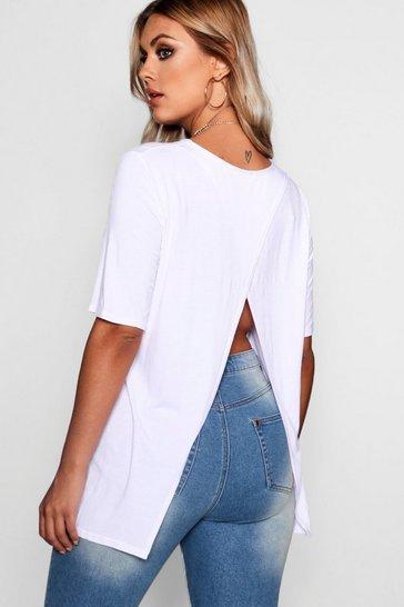 White Plus Jersey Split Open Back T-Shirt