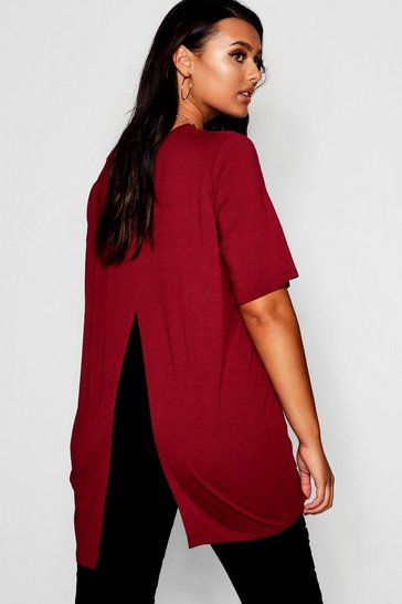 Wine red Red Plus Jersey Split Open Back T-Shirt