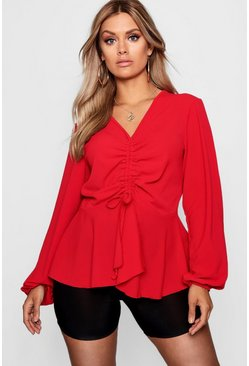 Red Plus  Woven Ruched Front Peplum Smock Top