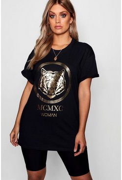 Black Plus Tiger Foil Print T-Shirt