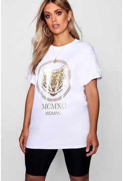 White Plus Tiger Foil Print T-Shirt